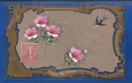 Carte En Celluloid   Peint à La Main  Bonne Année      Fleurs  Et Hirondelle - Fantasia