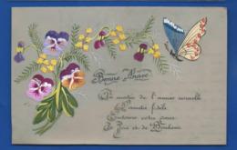 Carte En Celluloid   Peint à La Main  Bonne Année      Fleurs  Et Papillon  écrite En 1917 - Phantasie