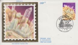Enveloppe  FDC  1er  Jour  MONACO    Minéraux  Du  Mercantour  :   QUARTZ    1990 - Minéraux