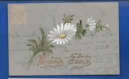 Carte En Celluloid   Peint à La Main   Bonne Année  Fleurs  écrite En 1907 - Fantasia
