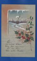 Carte En Celluloid   Peint à La Main   Bonne Année  Houe  écrite En 1922 - Phantasie