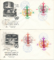 Haiti FDC 20-2-1963 Peaceful Uses Of The Outer Space Complete Set Of 4 On 4 Covers With Art Craft Cachet - Haiti