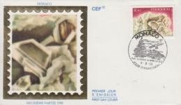 Enveloppe  FDC  1er  Jour  MONACO    Minéraux  Du  Mercantour  :   ALBITE    1990 - Minéraux