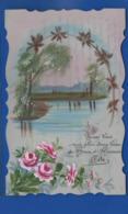 Carte En Celluloid   Peint à La Main   Bonne Fête  Paysage   Fleurs - Phantasie