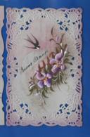 Carte En Celluloid   Peint à La Main   Dentelé Bonne Année    Fleurs Hirondelle écrite En 1915 - Fantasia