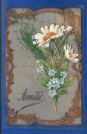Carte En Celluloid   Amitié   Ajouti  Bouque De Fleurs    écrite En 1907 - Fantasia