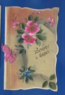 Carte En Celluloid   Peint à La Main   Bonne Année    Fleurs Dépliant écrite En 1929 - Phantasie