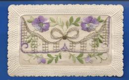 Carte Brodée    Fleurs - Bestickt