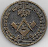 """Toulouse - Médaille Maçonnique Uniface Loge N° 27  """" Cordillera De Los Andes """" - Freemasonry"""