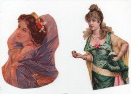 CHROMO Découpées (pas Découpis) Femme Fille Buste Coiffe Bijoux (2 Chromos) - Découpis