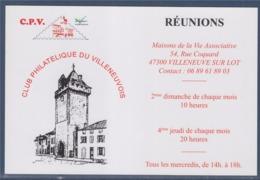 = Club Philatélique Du Villeneuvois, CPV, Carte Postale Donnant Les Rendez-vous Du Club - Sammlerbörsen & Sammlerausstellungen