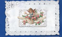 Carte Dentellé   Ange Colombe Ajouti    écrite En 1909 - Auguri - Feste