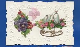 Relief   Bonne Année    Colombes  Fleurs   Ajouti - Anno Nuovo