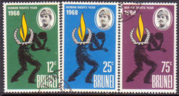 BRUNEI 1968 SG 163-65 Compl.set Used Human RIghts Year - Brunei (...-1984)