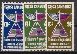 Cambodge - 1970 - N°Yv. 235 à 237 - Télécommunications - Neuf Luxe ** / MNH / Postfrisch - Cambogia
