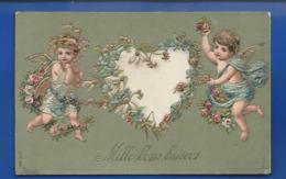 Carte En Relief  Anges  Coeur  Mille Bons Baisers  écrite En 1908 - Auguri - Feste