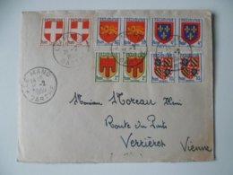 LETTRE OBLITERATION  LE MANS  SARTHE 1950  TIMBRE BLASON PAR MUTIPLE - Postmark Collection (Covers)