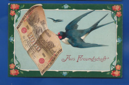 Carte Hirondelle Billet De Banque Aus Freundschaft  écrite En 1909 - Wensen En Feesten