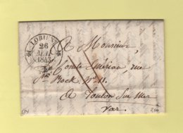Lorient - 54 - Morbihan - 26 Mai 1843 - Marcophilie (Lettres)