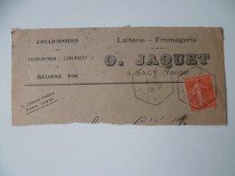 OBLITERATION  SUR FRAGMENT SACY  YONNE LETTRE LAIT CAMEMBERT JAQUET1928 - 1921-1960: Moderne