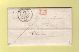 Lorient - 54 - Morbihan - 12 Juil 1843 - PP Port Paye - Marcophilie (Lettres)