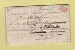 Rochefort - 16 - Charente Inferieure - 8 Aout 1843 - PP Port Paye - Redirigee Vers Ollioules Dans Le Var - 1801-1848: Précurseurs XIX