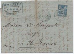 CORSE Lettre Oblitération Cachet Bleu Entrée Maritime CALVI LIGNE DE MARSEILLE 1882 (première Date Connue) / SAGE RRR - Posta Marittima