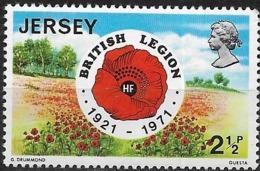 JERSEY 1971 50th Anniversary Of Royal British Legion - 21/2p Poppy Emblem And Field MNH - Jersey