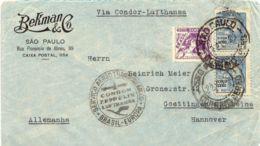 BRAZIL 1935 200 R + 2000 R (2x) VF Airmail-cover With CONDOR-ZEPPELIN-LUFTHANSA - Airmail