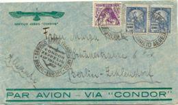 BRAZIL 1935 200 R + 2000 R (2x VARIETIES) SAO PAULO To BERLIN Airmail Via CONDOR - Airmail