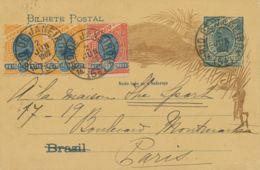 BRAZIL 1902 Sugarloaf Rio Bay 50 R Blue Uprated Postal Stationery Postcard PARIS - Covers & Documents
