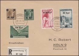 Luxemburg 28-32 Freimarken 40 Bis 100 RPf, 5 Werte, Auf R-Bf. LUXEMBURG 28.1.41 - Besetzungen 1938-45