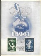 SAAR  1952  Carte Maximum  JEUX OLYMPIQUES  D'  Helsinki - Cartes-maximum