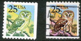 USA 1988 25 (C.) Owl (Bird) VFU, MAJOR ERROR/VARIETY:   MISSING COLOUR RED - Errors, Freaks & Oddities (EFOs)