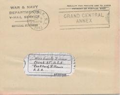 USA 1943, Original-V-Mail-Envelope WAR & NAVY / DEPARTMENTS / V-MAIL SERVICE - Air Mail
