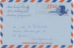 USA 1969 John F. Kennedy 13C Aerogramme WEST NEW YORK NY 07093 / PRAY FOR PEACE - Air Mail