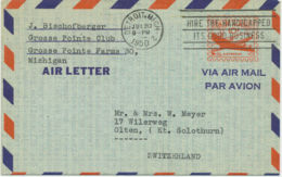 USA 1950 10C Aircraft Air Letter Slogan DETROIT.MICH / HIRE THE HANDICAPPED ITS - Air Mail