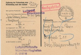 München Flughafen 1978 - Ergänzung Der Freimachung Briefsendung Ins Ausland - Luftpostleitstelle Nachgebühr - BRD