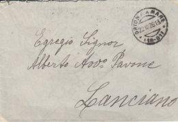 Ortona A Mare. 1926. Annullo Frazionario (19 - 61), Su Busta Affrancata Al Verso - Poststempel
