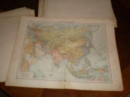 Ubersichtskarte Von Asien Volks Und Familien Atlas A Shobel Leipzig 1901 Big Map - Cartes Géographiques