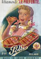 ALICI IN SALSA PICCANTE - F.LLI POLLI - MILANO - NON VIAGGIATA - Advertising