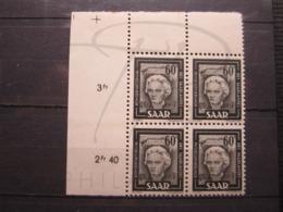 VEND BEAUX TIMBRES DE SARRE N° 283 EN BLOC DE 4 + 2 BDF , XX !!! - 1957-59 Fédération