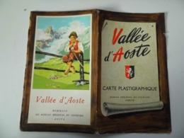 """Mappa """"VALLEE' D'AOSTE CARTE PLASTIGRAPHIQUE"""" Bureau Regional Du Turisme, Aoste  Anni '50 - Cartes Géographiques"""
