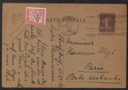 """TYPE """"DUVAL"""" / 1928 TAXE DE POSTE RESTANTE SUR ENTIER POSTAL POUR PARIS  (ref LE2811) - Marcophilie (Lettres)"""