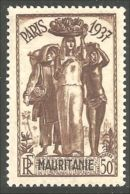 372 AOF 1937 Mauritanie Exposition Paris 50f Ananas Pineapple Banane Banana MVLH * Neuf CH Très Légère (f3-AEF-233) - Food