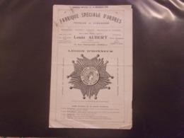 RARE   FABRIQUE SPECIALE D ORDRES LOUIS AUBERT FABRICANT   1938 LEGION D HONNEUR - France