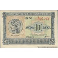 TWN - GREECE 314 - 10 Drachmai 6.4.1940 Series B 01 UNC - Greece