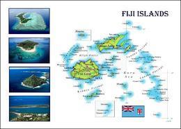 Fiji Islands Country Map New Postcard Fidschi Landkarte AK - Fidschi
