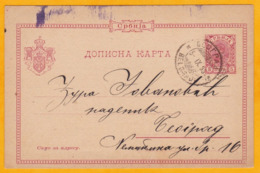 1895 - Entier Carte Postale De Belgrade, Consulat Austro-hongrois  à Teoipag (site Du Palais Royal) - Serbia