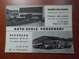 Carte Postale  - BAUME LES DAMES (25) - BESANCON - Auto Ecole Personeni - Voitures Motos Camions (3614) - Baume Les Dames